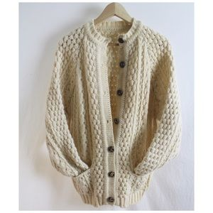 Handknit Chunky Wool Cardigan Sweater Pockets M/L